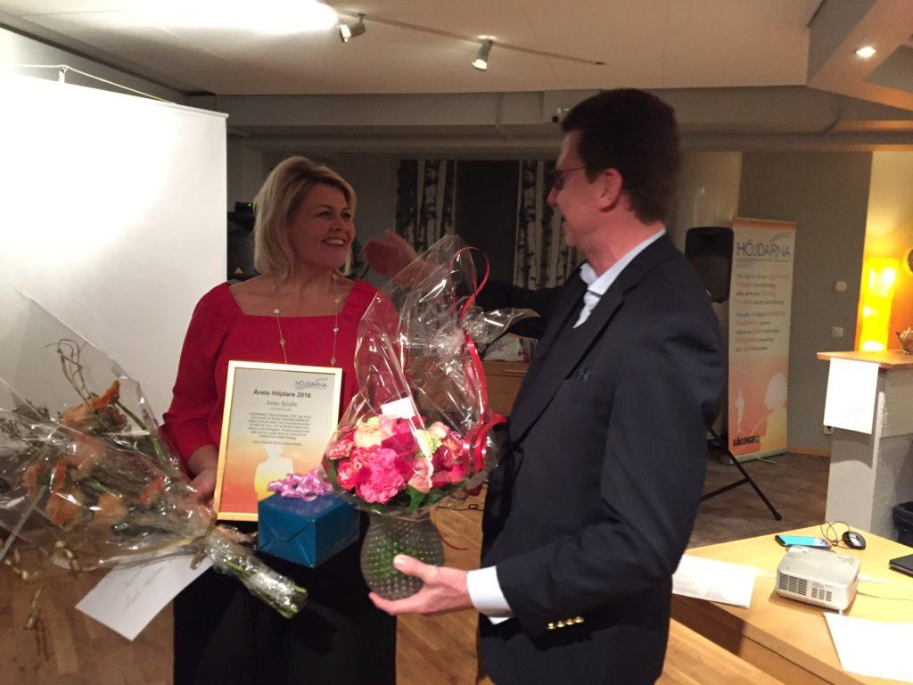 Årets Höjdare 2016, Anna Sjödin, och näringslivschef Mats Rosén